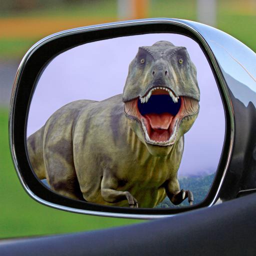 创意拍摄 前视镜 恐龙 霸王龙