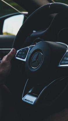 奔驰 内饰 方向盘 豪车 黑色 驾驶