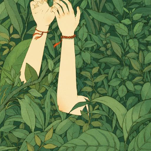 漫画插画 草丛 绿叶 手臂