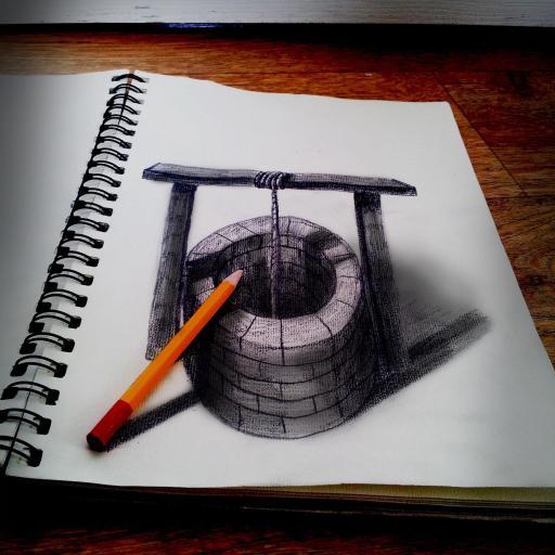 绘画 画画 水井 素描