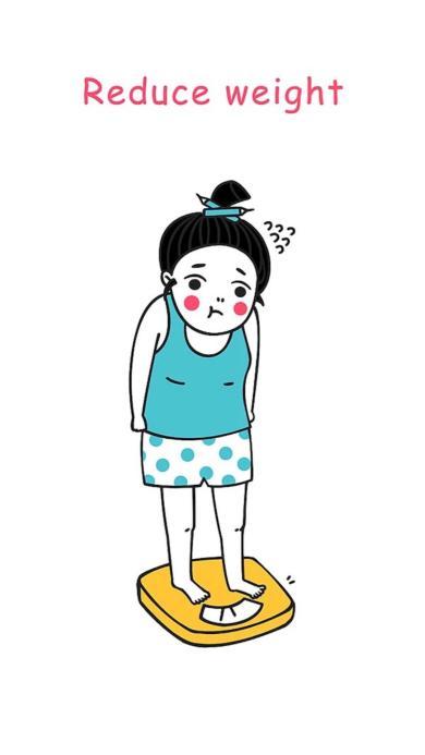 减肥 创意 卡通 女生