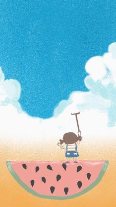夏日 小女孩 西瓜 天空 蓝天白云