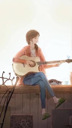 女生 吉他 手绘 拖鞋