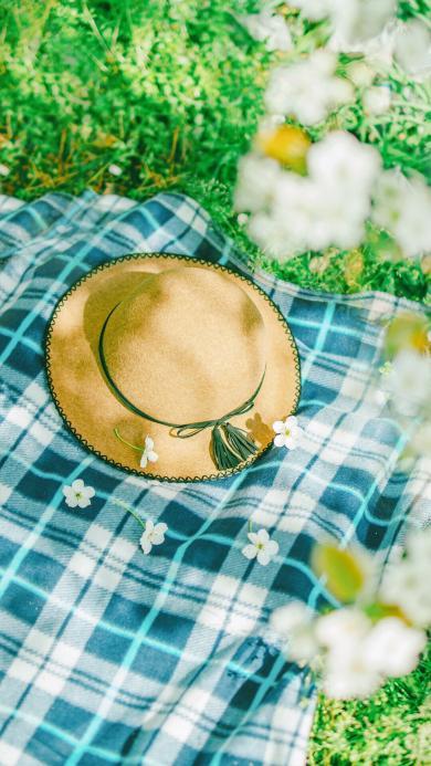 夏日 蓝色格子小毯 毡帽 白色小花
