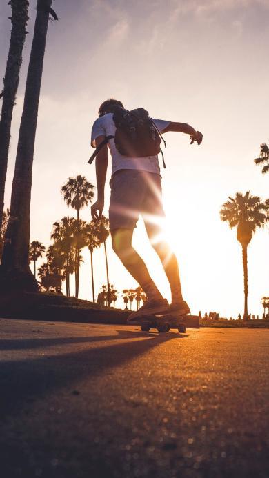 滑板 运动 男孩 背包 阳光