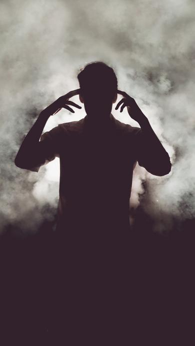 烟雾 男孩 黑色 身影 手势