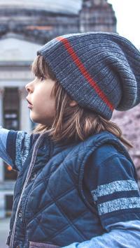 儿童 小男孩 樱花 孩子 冬季