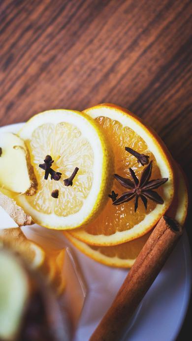 新鲜水果 黄柠檬 八角 生姜