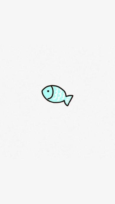 鱼 简约 手绘 蓝