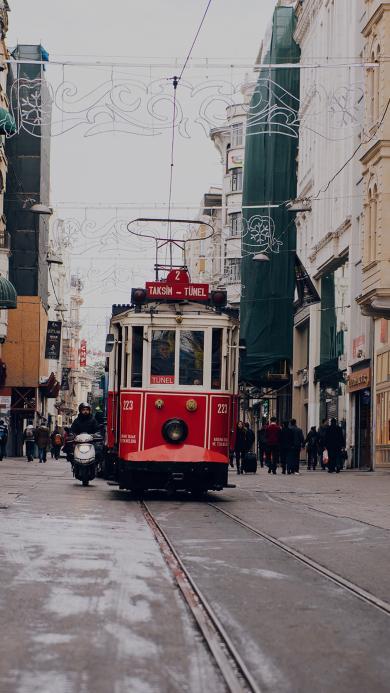 电车 红巴士 轨道 城市 街道