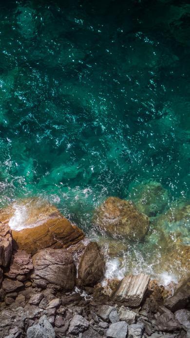 海岸 岩石 大海 海水 清澈 浪花