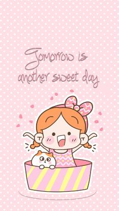 卡通小女孩 猫咪 tomorrow is another sweet day