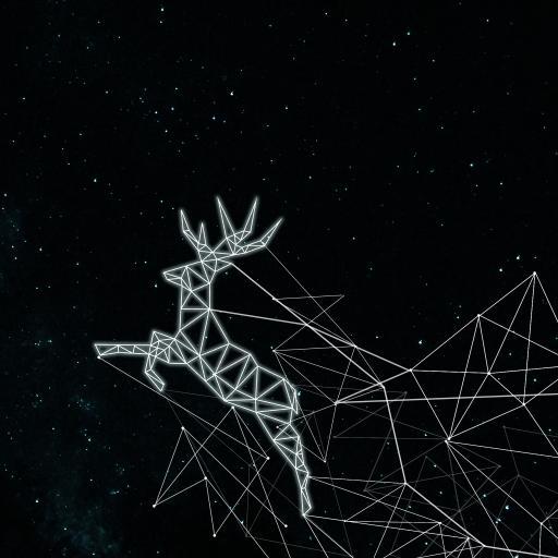 鹿 黑色 线条 平面 构成 设计