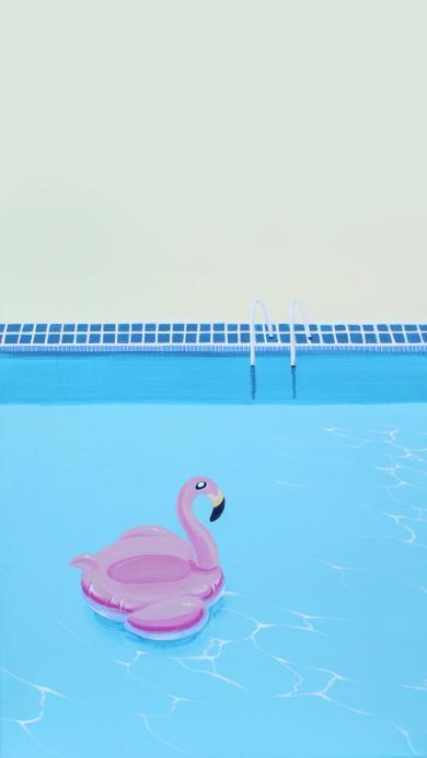 泳池 夏日 游泳圈 火烈鸟 插画