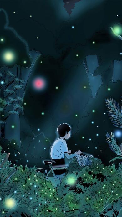 动漫场景 森林 萤火虫 推自行车的小男孩
