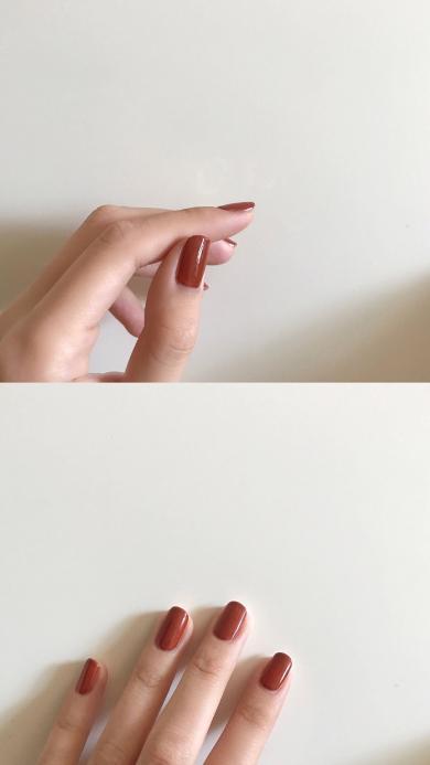 手控党 好看的手 修长 红色指甲油