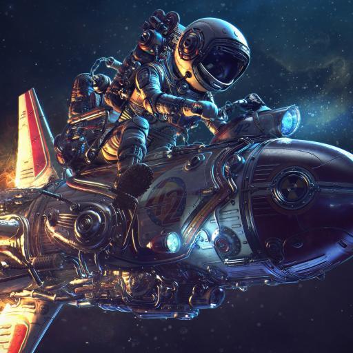 太空人 飞船 火箭 绘图 绘画 科幻 宇宙