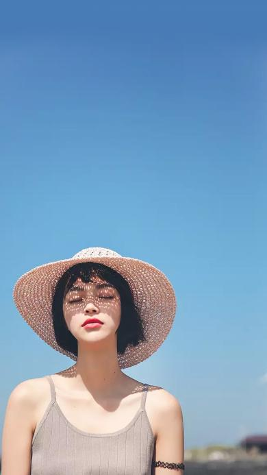 夏日 阳光 草帽 短发 女孩 小清新