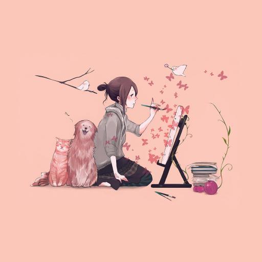 绘画 插画 粉色 女孩 小猫 小狗
