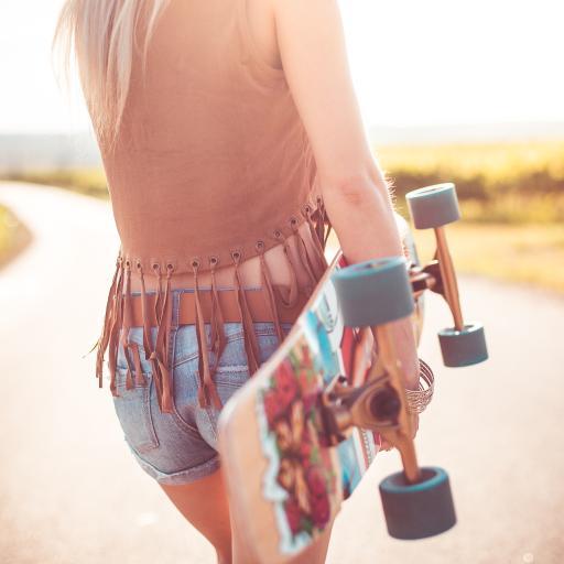 滑板 运动 女孩 路 阳光