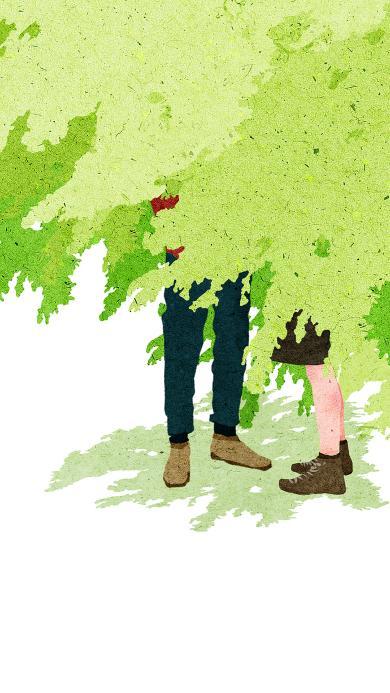 情侣 插画 树荫 双腿