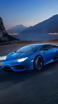 兰博基尼 蓝色 马路 炫酷 速度 超级跑车