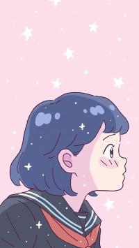 粉色星星背景 动漫情侣 少女