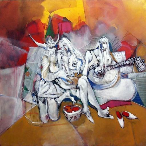 创意涂鸦 喷绘 美女与吉他手