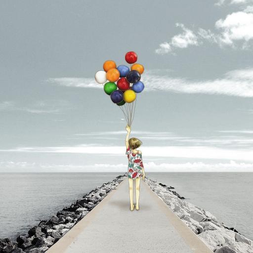 气球 创意 大海 蓝天