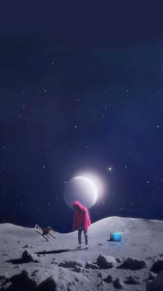 太空 宇宙 月球 男孩