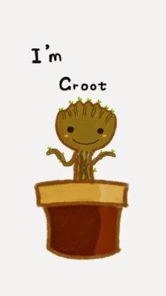 手绘小树苗 英文句子 I Am Groot