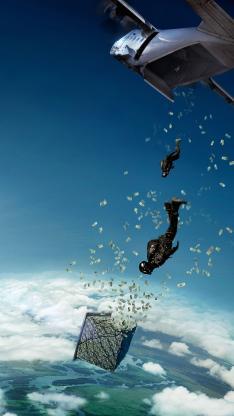 跳伞 蓝天 白云 飞机