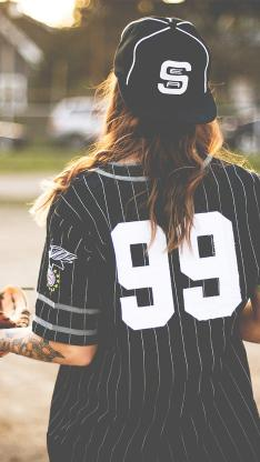 棒球 球服 欧美 女孩 背影 运动