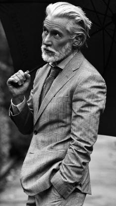 欧美帅气型男 黑白拍摄 胡须