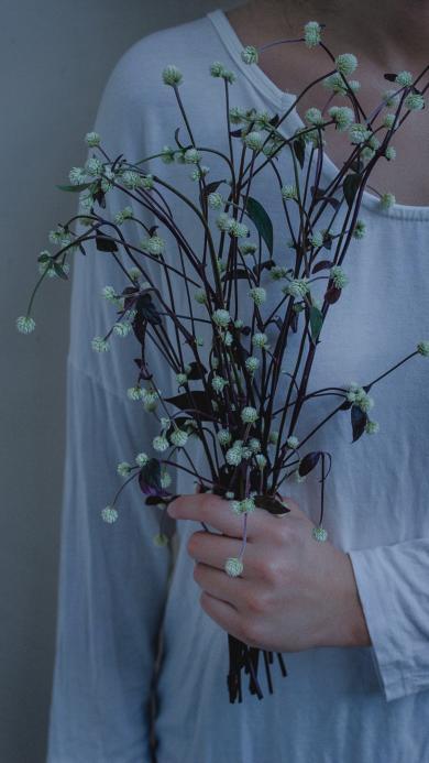 手握鲜花 白色零星小花 清新