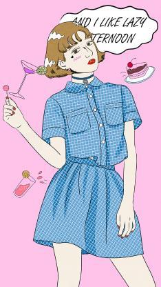 女孩 短发 时尚 格子裙 少女