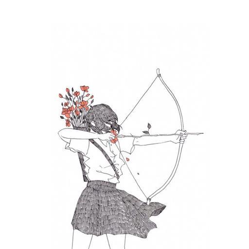 女生 手绘 射箭 绘画