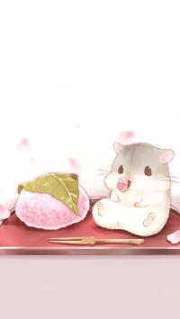 萌萌的卡通小仓鼠 吃饭团