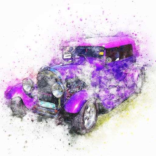 白色背景 手绘汽车 紫色 炫酷