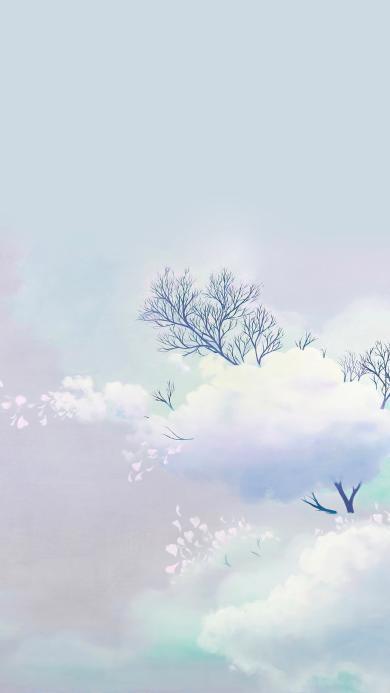树 唯美 花瓣 云朵 梦幻 朦胧