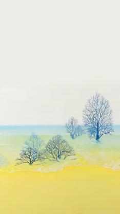 树 唯美 渐变 水 梦幻 朦胧