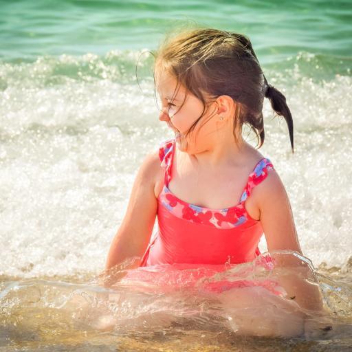 小女孩 大海 游泳 夏日 可爱 泳衣