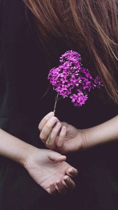 鲜花 手控 双手 野花 背影 女孩