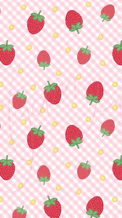 草莓 粉色 水果 网格 桌布 平铺