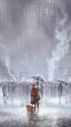 绘画 手绘 雨伞 下雨天