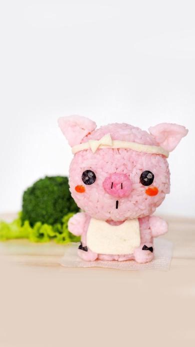 创意美食 小猪饭团 粉嫩可爱