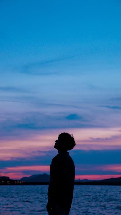 大海 云彩 落日 侧影