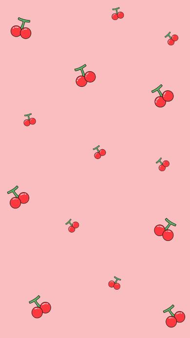 樱桃 粉色 水果 平铺 少女