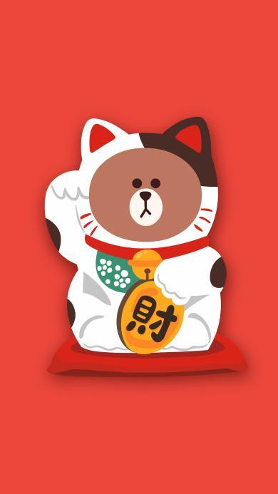 招财猫 line 布朗熊 可爱 红色