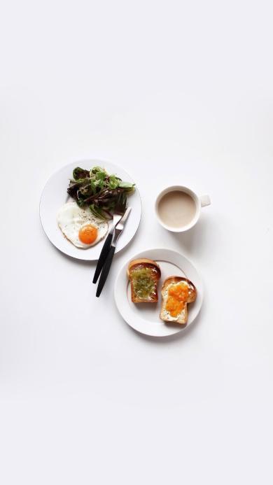 美味早餐 吐司面包 煎蛋 沙拉 奶茶